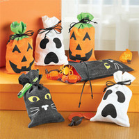Wholesale woven cat toy resale online - Creative Halloween Pumpkin Ghost Kids Trick or Treat Candy Bags Non woven Black Cat Gift Drawstring Bag Halloween Kids Toys
