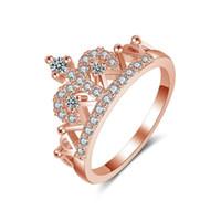 anéis de zircão à venda venda por atacado-2018 venda quente coreano rainha rose gold crown anel mulheres zircão bonito bonito partido de casamento jóias compatível com pandora elemento atacado