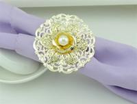 проектирует большие цветочные кольца оптовых-Античный узор металла салфетка кольцо роскошный дизайн цветок модель салфетка кольца для гостиничных принадлежностей большие аксессуары 3 9 км ff