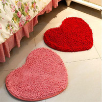Wholesale chenille bathroom mats resale online - Marriage Room Love Carpet Home Furnishing Decoration Originality Chenille Heart Mat Red Pink Wedding Supplies Pure Color tj3 bb