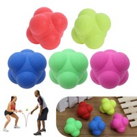 Wholesale large plastic balls - Hexagonal Bouncing Ball Medium Difficulty Great Ball Solid Fitness Training Agility Speed Reaction TRP Ball 7 Colors