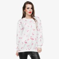 kızlar beyaz sweatshirt toptan satış-Kadın Sweatshirt Flamingo Beyaz 3D Tam Baskı Kız Ücretsiz Boyutu Sıkı Rahat Hoodies Lady Uzun Kollu Tops Dijital Tişörtü (GL30485)