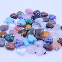 Wholesale heart natural stone resale online - Fancy Heart natural Stone Gemstone Pendants High Polished Loose Beads Silver Plated Hook Fit Bracelets and Necklace mixed
