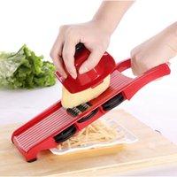 paslanmaz peynir dilimleme makinesi toptan satış-Paslanmaz Çelik Mandoline Slicer ile Sebze Kesici Bıçak Manuel Patates Soyucu Havuç Peynir Rende Dicer Mutfak Aksesuarları