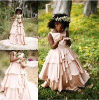 Wholesale kids simple gowns - Simple Design Ruffles Flower Girl Dresses Sleeveless Jewel Zipper Back Kids Wear For Formal Occasions Cute Girl Dresses