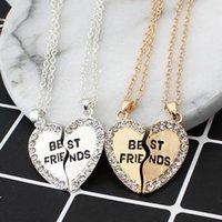 pendentifs de navire ami achat en gros de-Bons amis amour anglais pendentif pendentif collier mode deux strass alliage rabat meilleurs amis collier livraison gratuite