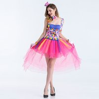 Wholesale sexy bar uniforms - 2018 Sexy Halloween Joker Suit Cospaly Seduction of Uniform NightClub Bar Party DS Stage Costume Dress Disco Holiday Coat 1163