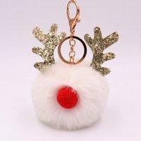 bolas de natal 15cm venda por atacado-DoreenBeads Chaveiro Chaveiro de Natal Rena Chifre Branco Colorido Pom Pom Bola Glitter 15cm x 15cm (5 7/8