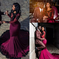Wholesale Maternity White T Shirt - 2018 African Burgundy Prom Dresses Sheer Long Sleeves With Black Appliques Lace Mermaid Formal Party Evening Gowns Vestidos De Fiesta
