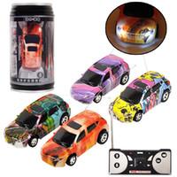 juguete superior iluminado al por mayor-Mini RC Racing Car 1:64 Coke con cremallera Pop-top puede 4CH Radio Remote Control Vehicle LED luz 4 colores Juguetes para niños EMS C4291
