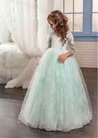 blumenmädchen kleidet wasser grün großhandel-Silk Garn der Wassergrün-Knospe im Hochzeitskleid der Kinder 2018 neues Mädchenabendkleid-Blumenmädchenkleid
