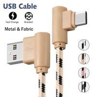 derece usb adaptörü toptan satış-C Tipi Kablo USB C Derece 90 Derece Çift Dirsek Şarj Sync Veri Kablosu Naylon Örgülü Samsung Huawei LG için Mikro USB Şarj Adaptörü