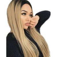 ingrosso due parrucche lunghe a colori-Ombre Blonde Parrucche frontali in pizzo sintetico Radici scure Due toni Colore Fibra resistente al calore Capelli lisci lunghi Colore 1B / 27