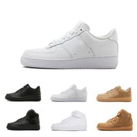 Wholesale high cut skate shoes - 2018 New Classic forces Classical All High and low White black Wheat men women Sports sneakers Running Shoes Forcing skate Shoes size 36-45