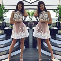 Elegant Pink Lace Short Homecoming Dresses for Juniors Tulle Plus Size  Applique Short Prom Dress Party Ball Gowns Graduation Club Wear Cheap