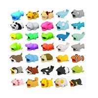 Wholesale phone holder usb charging online – fashion cartoon toyl design mobile phone charging cord protector usb cable mini head holder shockproof cable animal bites for phone cables