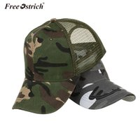 Wholesale ostrich hat - Free Ostrich Snow Camo Baseball Caps Men Summer Mesh Cap Tactical Camouflage Hat For Men Women Bone Masculino Dad Hat Caps N20