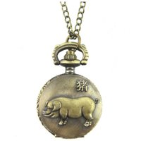 Wholesale Necklace Small Pocket Watches - Retro 3D Embossed Pig Bronze necklace Small Pocket Watch