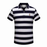 tigre pequeno venda por atacado-Nova marca de luxo bordado camisas para homens itália moda camisa poloshirt homens high street cobra pequena abelha tigre impressão dos homens camisa polo