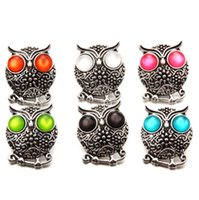 Wholesale metal snap press - Fashion Crystal Ginger Snap Jewelry Animal Owl Metal Snap Mixed press buttons For 18mm Snap Bracelets for Women