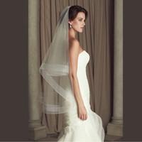 Wholesale wedding veil fingertip tier resale online - Bridal Veils Cheap Wedding Accessories Ribbon Edge Fingertip Veil White Ivory Wedding Veil Bridal Veils Tier Veils