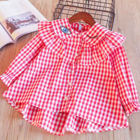Wholesale Top Candy Brands - Everweekend Girls Ruffles Plaid Shirts Tees Sweet Eyes Embroidered Candy Pink Blue Color Spring Autumn Tops Blouse