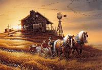 Wholesale Canvas Farm - Diamond embroidery cartoon Farm harvest horse diy diamond painting cross stitch kit resin full round diamond mosaic home decoration yx4201