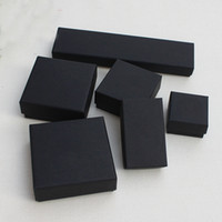 Wholesale black kraft gift boxes resale online - Jewelry Gift and Retail Boxes Black Kraft Packing Bracelet Necklace Ring Ear Nail Box Christmas New Year Gift Customize size Select