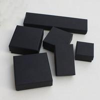 caixas de presente kraft preto venda por atacado-Presente da jóia e Caixas De Varejo Preto Kraft Embalagem Pulseira Colar Anel Ear Nail Box Presente de Natal de Ano Novo Personalizar 10 tamanho Selecione