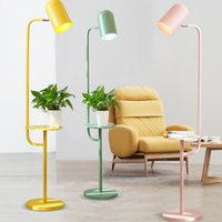 Wholesale Nordic Modern Iron Floor Lamp Led E27 Pure Color Living Room Restaurant Floor Lamp Bedroom Study Lighting Fixture Kitchen Lights