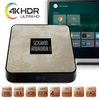 nueva caja de tv al por mayor-El más nuevo Android TV Box DDR3 4G + 32GB 4K Android 8.1 H.265 64bit Media Streaming Player Smart Box Soporte 2.4G WiFi 100Mbps BT4.0 USB3.0