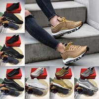 Wholesale Ladies Yellow Shoes - With Box Air 97 Running shoes x UNDEFEATED Gold Silver Bullet Triple white balck Pink men women Lady Boys Sneakers US 5.5-12