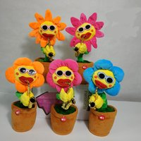 Wholesale style flower toy online - Sunflower Plush Music Toys Luminescence Electric Enchanting Flowers Funny Style Sax Sing Dance Doll Kids Gift xb Z