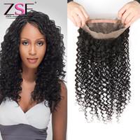 cabelo quente beleza humana venda por atacado-ZSF 8A Hot Beleza Brasileira Onda Profunda Do Cabelo Humano Feixes de Cabelo Humano Com Extensão Frontal 1 pc 360 Lace Frontal com 3 Feixes de cabelo