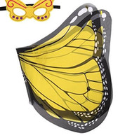capa de mariposa al por mayor-Douglas Dreamy Dress- Fancyiful Fabric Wings - 9 colores Monarch Butterfly Cape con máscara para niños Navidad Halloween Cosplay Prop Costumes