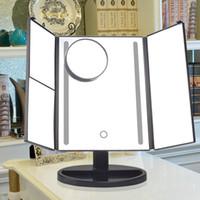 Wholesale toilet mirror light - New Three Folding Table LED Lamp Luminous Color Make up Mirror Portable Toilet Cosmetic Mirror Adjustable Tabletop Countertop Light Mirror