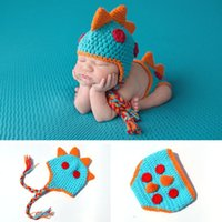 Wholesale knit diapers girl resale online - Baby Photography Props Newborn Boys Dinosaur Outfits Baby Photography Props Knitted Dinosaur Hat Diaper Set Infant