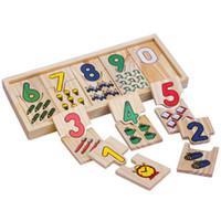 ingrosso bambini numero giocattoli-5Sets Baby Kids Bambini Educational Math Toys Numero piccolo gioco di corrispondenza Early Learning Number Scatola di legno