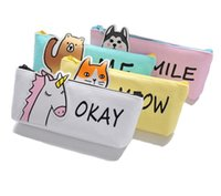 Wholesale cute animal pencil cases - 2018 new Pencil Case animal beer Canvas School Supplies Stationery Estuches School Cute Boy girls Pencilcase storage bag