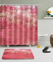 piso vermelho de cerejeira venda por atacado-3d vermelho cereja flores flor padrão de impressão decorações irlandesas à prova d 'água decoração do banheiro tecido cortinas de chuveiro tapetes conjuntos