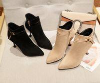nova moda coreano saltos venda por atacado-2018 nova moda Coreana ankle boots mulheres apontou toe zipper botas de salto alto botas curtas senhoras sapatos de inverno martin