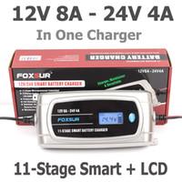 Wholesale Gel Charger - FOXSUR 12V 8A 24V 4A 11-stage Smart Battery Charger, 12V 24V EFB GEL AGM WET Car Battery Charger with LCD display & Desulfator