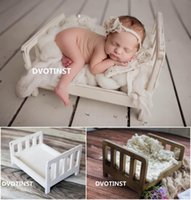 Wholesale wooden photo photography props resale online - Dvotinst Newborn Photography Props Solid Baby Retro Wooden Posing Bed Fotografia Accessories Infant Studio Shooting Photo Props