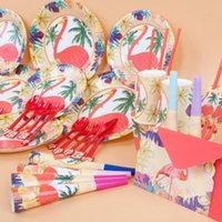 juegos de servilletas al por mayor-Kids Flamingos Suministros de la Fiesta de Cumpleaños Favorable Vajilla Platos de Decoración Servilletas Estandarte Tazas Decoraciones para Fiestas Conjuntos 20 Sets OOA4913