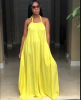 uzun sarı yaz rahat elbiseler toptan satış-Yeni Yaz Uzun Elbise Kolsuz Backless Kırmızı Sarı Rahat Gevşek Boho Plaj Elbise Kadın Giyim S-XL