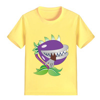 Wholesale zombies t shirt - NEW ARRIVAL Children Cartoon T Shirt Plants vs Zombies Chomper Printed Boy Kid Clothes Short Sleeve Girl Tee Shirt Kid Summer P1213