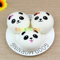 Wholesale cute cell charms - Free Shipping Cute 4cm Panda Squishy Kawaii Buns Bread Charms Bag Key Cell Phone Straps Pair Random Soft Panda Squishy Bread Semll