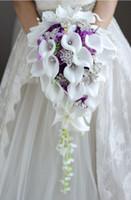 ingrosso spilla da sposa da sposa-2018 High-end personalizzato bianco Calla Lily Rose viola ortensia fai da te perla spilla di cristallo goccia bouquet da sposa