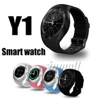 Wholesale round smart watches for android phones for sale – best Y1 Smart Watch Round Touch Screen Smartwatch Phone with SIM Card Slot Whatsapp For Android Phone IOS iPhone