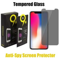 Wholesale huawei s7 screen - Anti-Spy Screen Protector For iPhone X 8 7 6 6S Plus Privacy Tempered Glass For Samsung S7 S6 Huawei P10 With Retail Package